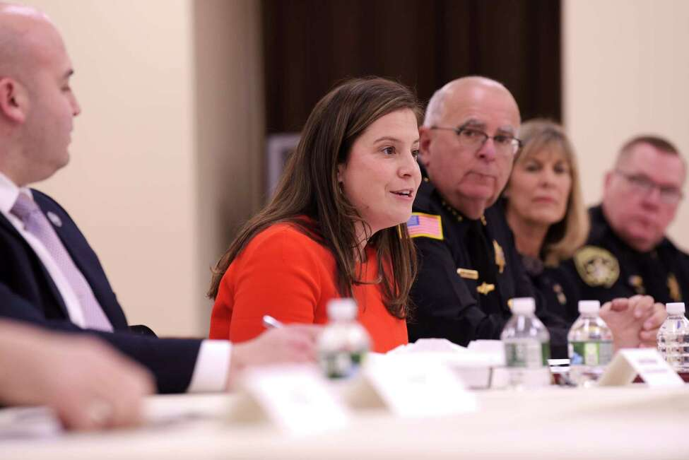 Congresswoman Elise Stefanik speaks at a roundtable discussion on mental health issues for members of law enforcement on Monday, Jan. 6, 2020, in Ballston Spa, N.Y. (Paul Buckowski/Times Union)