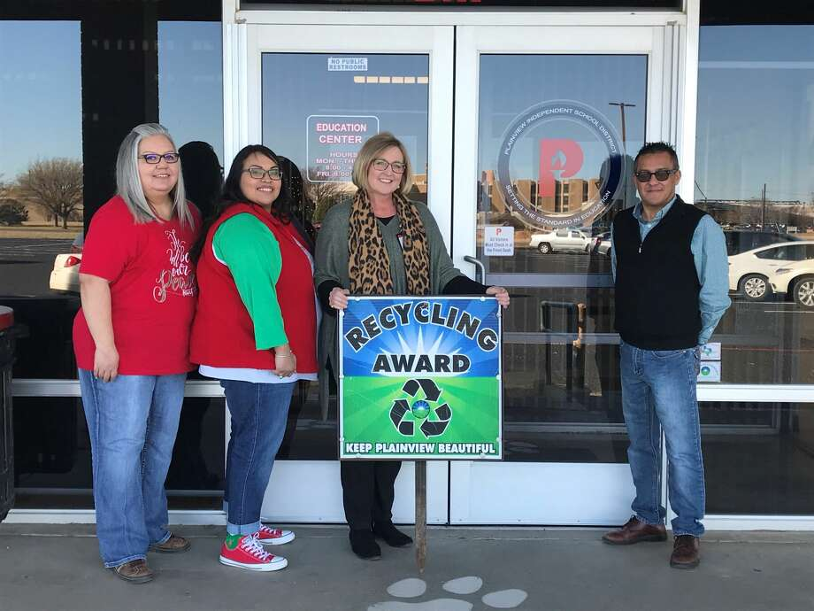 The Plainview ISD Special Education team was recognized with the Recycling Award. Pictured (L-R): Diana Banda, Silvia Ibarra, Brandy Tirey and Jeff De La Garza Photo: Annabeth Allison/For The Herald