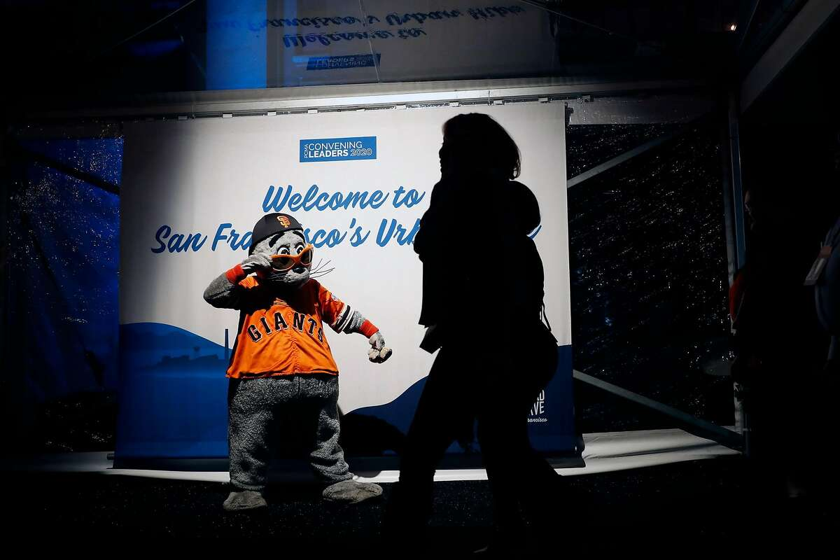 San Francisco Giants' mascot, Lou Seal, greets attendees to PCMA Convening Leaders 2020 party at Pier 48 in San Francisco, Calif., on Sunday, January 4, 2020.