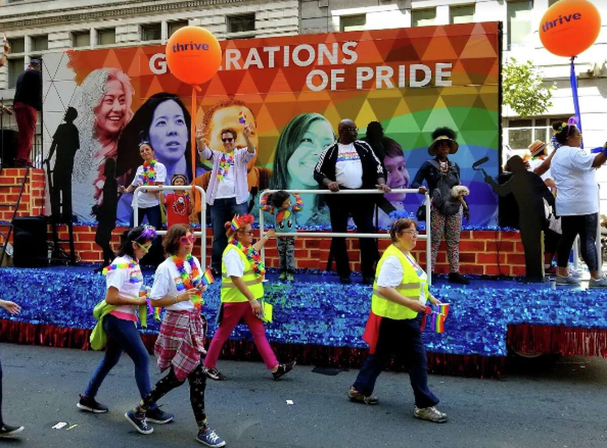A float at the Oakland Pride Parade in 2019. Located in the same building as the soon-to-be-razed LGBTQ+ nightclubs Club BNB and Club 21, the annual event's headquarters will be evicted on Jan. 12 and converted into new tech offices.