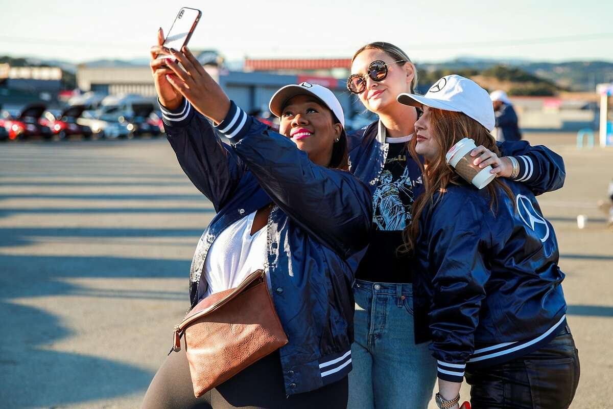 Kristine Thompson (left), Liz Cherk and Samantha Barry, editor-in-chief at Glamour magazine, attend the Glamour and Mercedes-Benz AMG Driving Academy Experience in Salinas on Oct. 3, 2019.