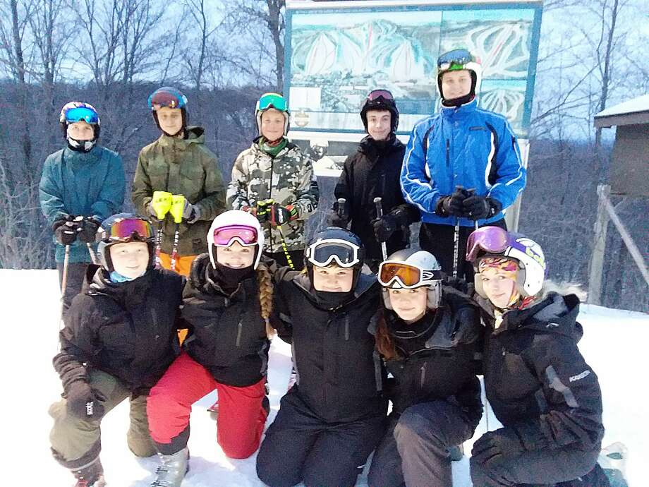 The Onekama ski team, pictured (from left to right) in the front row: Alora Sundbeck, Michayla Bell, Brooke Calvert, Dani Miles and Finnja Richter. Back row: manager Reece Tiel, Briten VanVoorst, Kylar Thomas, Luke Kooy and Lucas Wallstedt. Not pictured: Jacob Pete.  Photo: Courtesy And File Photos