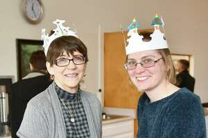 """Members of the Church of Christ Congregational held an Epiphany Party on Sunday. Above, Darlene Krukar and Alicia St Sauveur spoke about the """"star word"""" they received at the 2019 Epiphany Party. Darlene's word for the year was family; Alicias word was empower."""