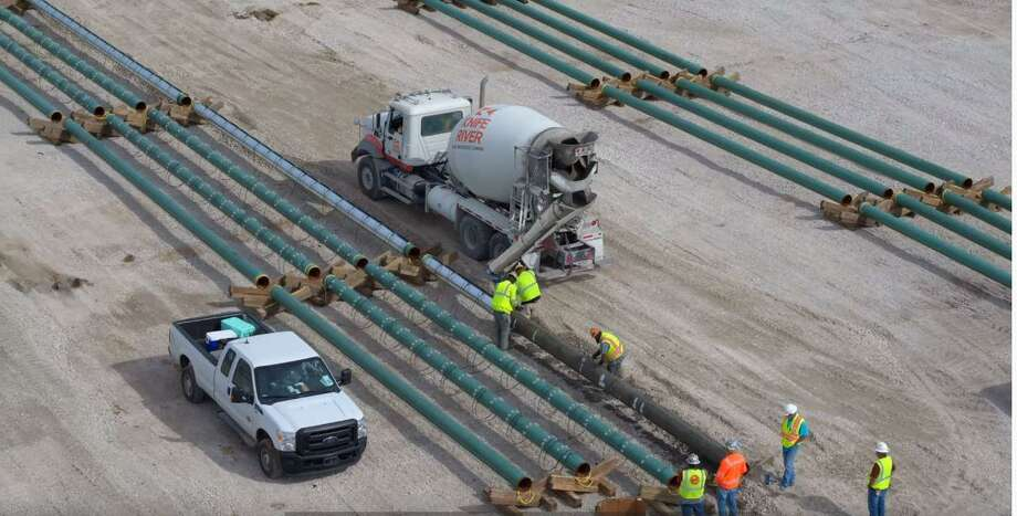 Contractors work on the initial stage of construction at the future Port Arthur LNG export facility in the Sabine Pass community of Port Arthur in early December. Port Arthur LNG is a proposed venture by Sempra LNG and Saudi Aramco. Photo: Courtesy Of Sempra Energy