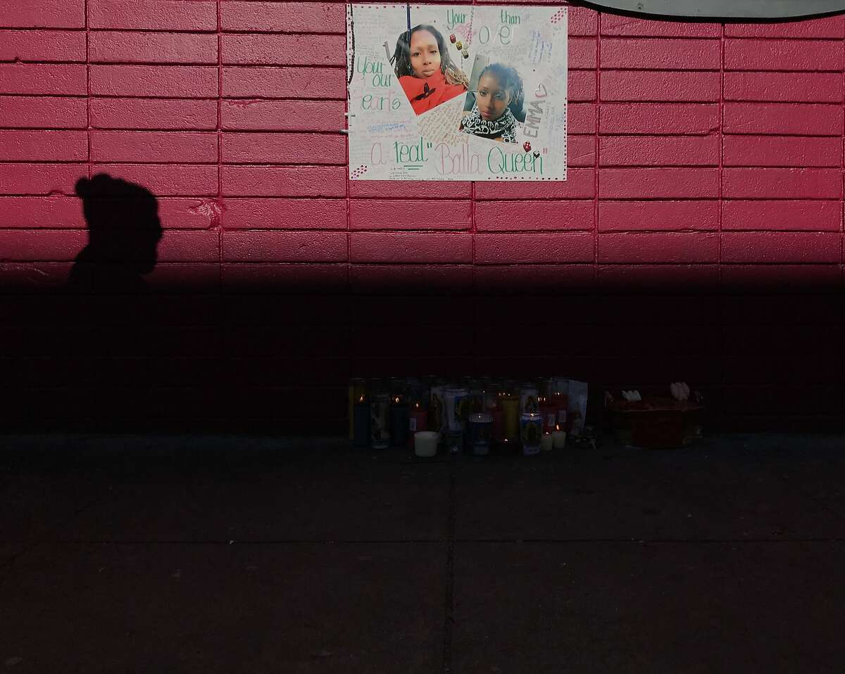 A memorial for Emma Hunt near the scene of the shooting.