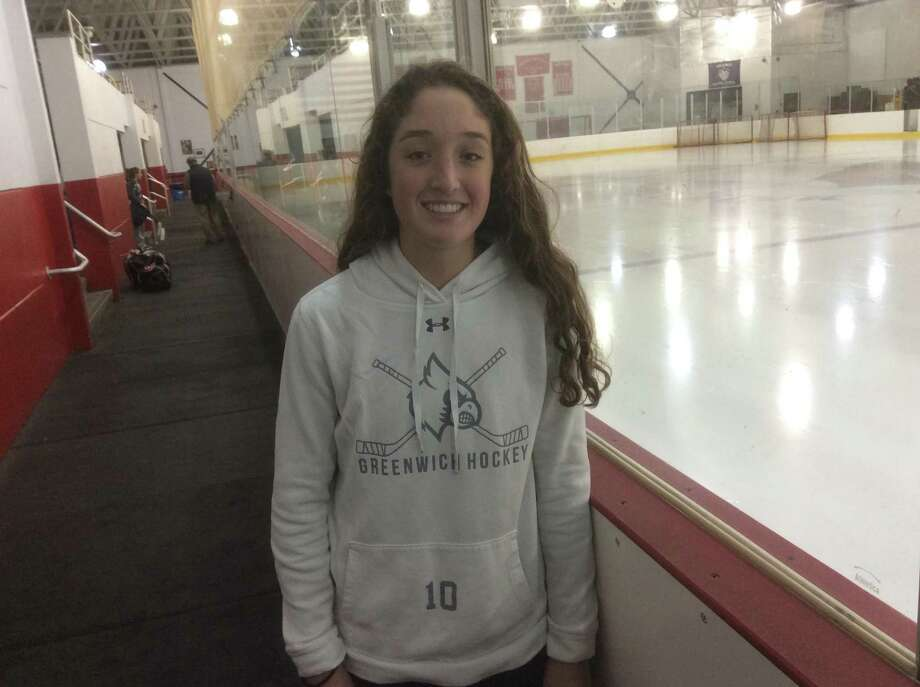 Greenwich High School sophomore Delaney Roth scored two goals in the Cardinals' hockey team's 6-0 win vs. Trumbull/St/. Joseph on Monday, January 6, 2020, in Greenwich. Photo: David Fierro /Hearst Connecticut Media