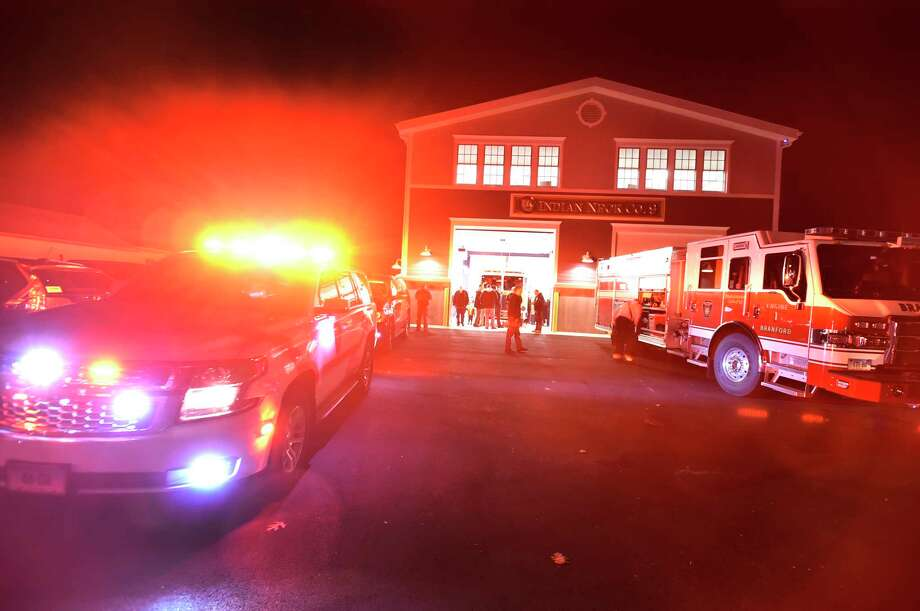 Branford, Connecticut - Monday, January 6, 2020:  A Branford Fire Department vehicles prepare to go on an emergency call during a Town of Branford Fire Department celebration at their new Indian Neck Pine Orchard Co. 9 Fire House  Monday evening that culminated with a ribbon cutting ceremony. The firehouse is home to 14 volunteer firefighters. Photo: Peter Hvizdak, Hearst Connecticut Media / New Haven Register