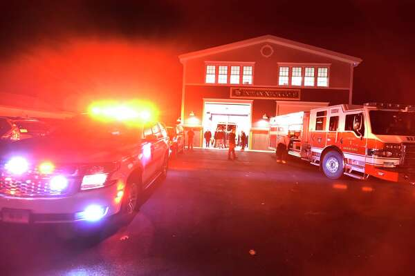 Branford, Connecticut - Monday, January 6, 2020: A Branford Fire Department vehicles prepare to go on an emergency call during a Town of Branford Fire Department celebration at their new Indian Neck Pine Orchard Co. 9 Fire House Monday evening that culminated with a ribbon cutting ceremony. The firehouse is home to 14 volunteer firefighters.