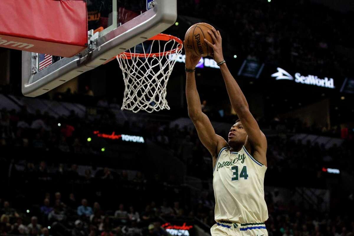 Milwaukee Bucks' Giannis Antetokounmpo goes up for a shot as the San Antonio Spurs play the Milwaukee Bucks at AT&T Center in San Antonio, Texas, Jan. 6, 2020.