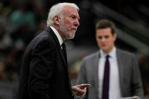 San Antonio Spurs Head Coach Gregg Popovich during the Spurs' game against the Bucks at AT&T Center in San Antonio, Texas, Jan. 6, 2020.
