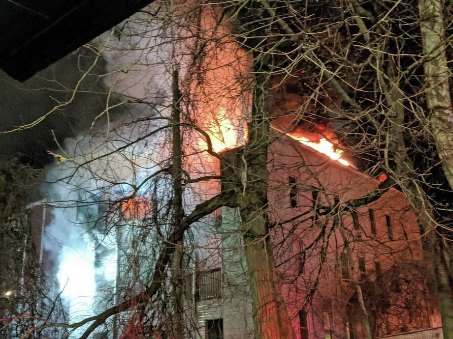Seventeen people including three children were displaced after a serious fire in the 200 block of Maplewood Avenue Monday night on Jan. 6, 2019, officials said. Photo: Bridgeport Fire Department Photo