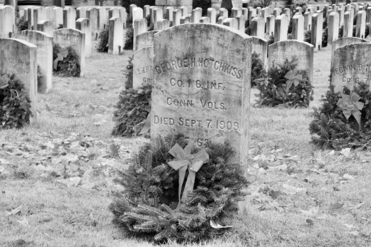 One of many graves remembered on Dec. 14 at Spring Grove Veteran's Cemetery.