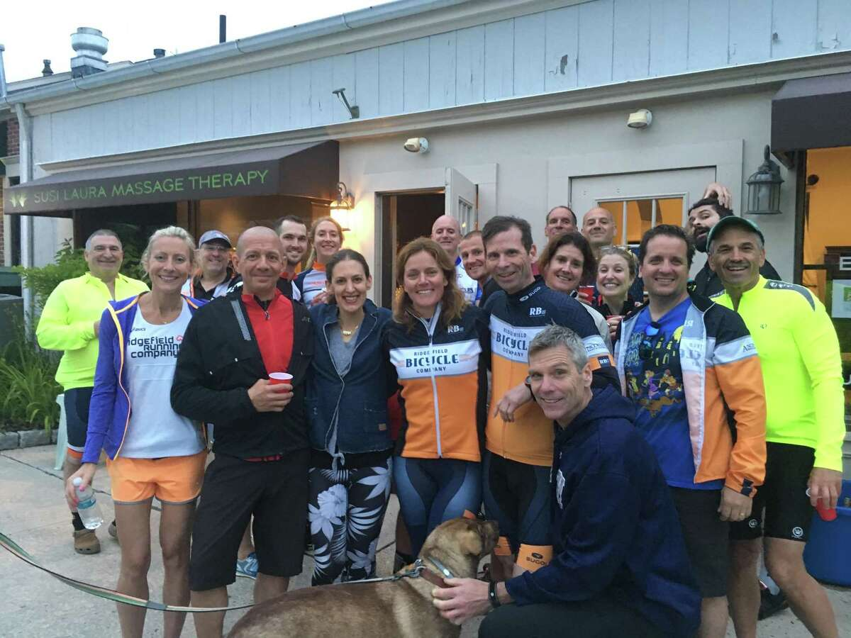 Ridgefield Bicycle Sport Club members at a Thirsty Thursday post-ride gathering at sponsor Susi Laura Massage.