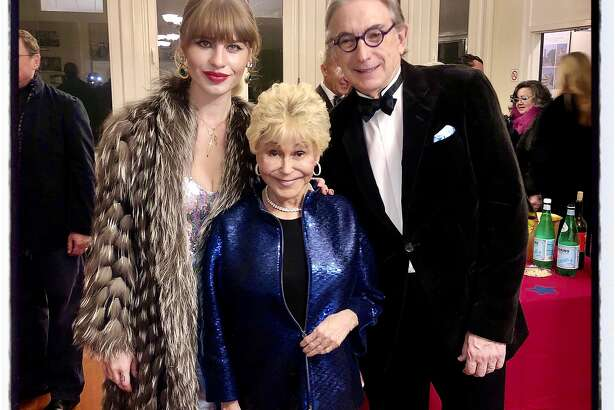 Ivy Getty (left) with producer Jo Schuman Silver and Michael Tilson Thomas at the Beach Blanket Babylon finale. Dec. 31, 2019.