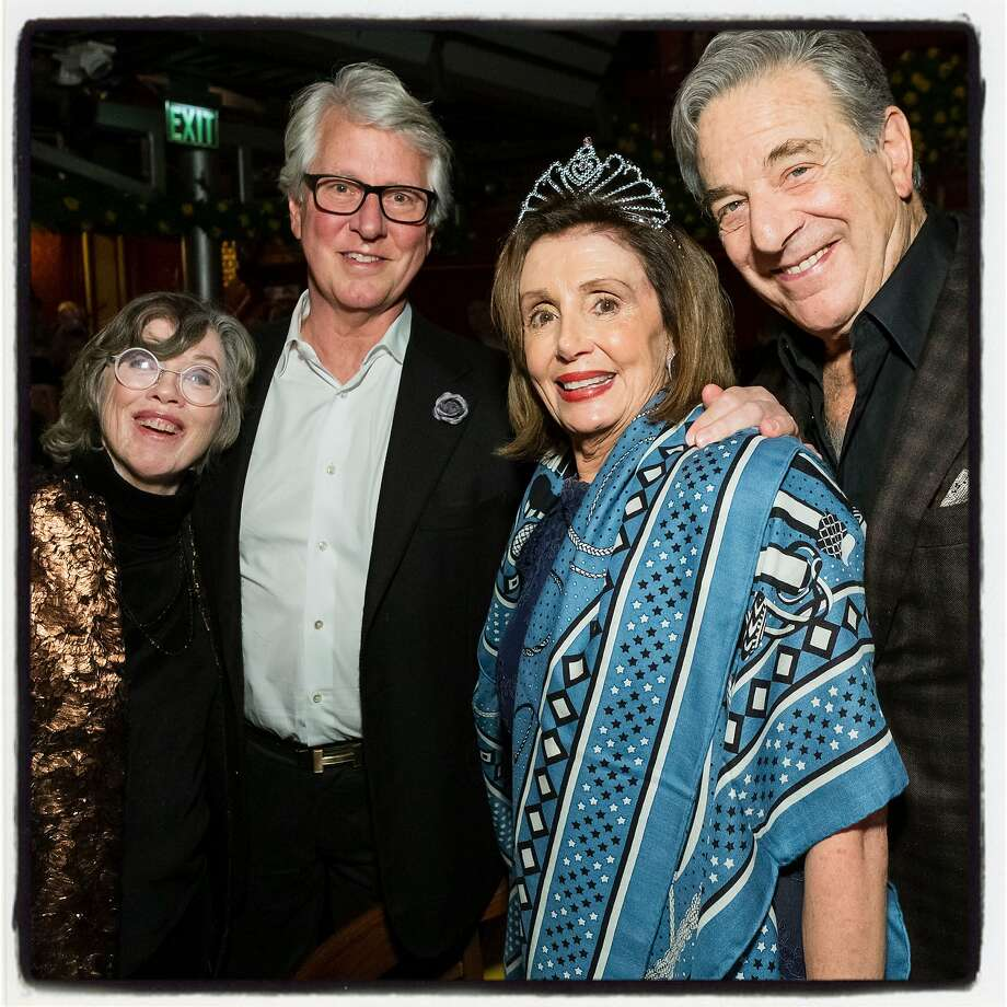 """Carole and Jeff Hays (left) with Nancy and Paul Pelosi at the """"Beach Blanket Babylon"""" finale. Dec. 31, 2019. Photo: Andrew Caulfield / Drew Altizer Photography"""