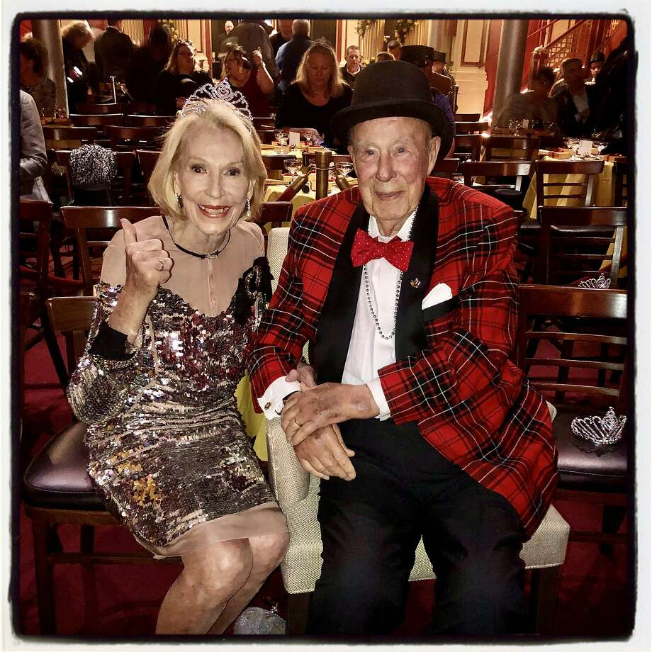 """Charlotte and George Shultz at the """"Beach Blanket Babylon"""" finale. Dec. 31, 2019. Photo: Catherine Bigelow / Special To The Chronicle"""