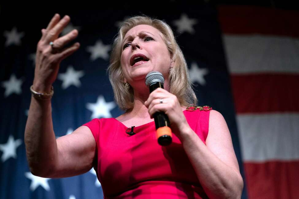 In this file photo taken on August 9, 2019 2020, Democratic presidential hopeful US Senator for New York Kirsten Gillibrand speaks at the Wing Ding Dinner in Clear Lake, Iowa.