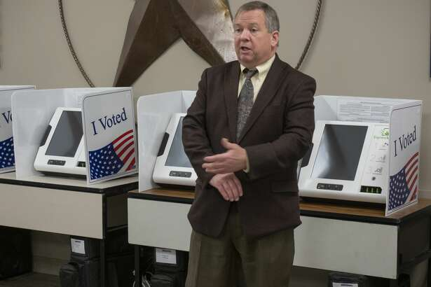 Russell Malm talk about the process of validating the ballot machines 01/07/20 during testing of ballot machines at the Midland County Elections office. Tim Fischer/Reporter-Telegram