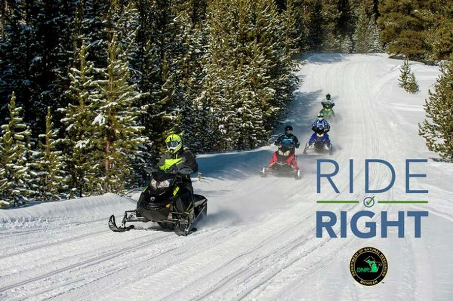 """The Department of Natural Resources is reminding people to ride safely this snowmobile season with its """"Ride Right"""" campaign. (Courtesy Photo)"""