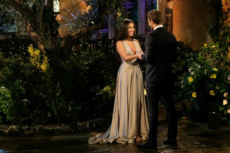 "San Antonio native and ""The Bachelor"" contestant Alayah Benavidez greets the show's lead Peter Weber during the episode that aired on Monday, Jan. 6. Photo: John Fleenor/ABC Via Getty Images"