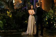 "San Antonio native and ""The Bachelor"" contestant Alayah Benavidez greets the show's lead Peter Weber during the episode that aired on Monday, Jan. 6."