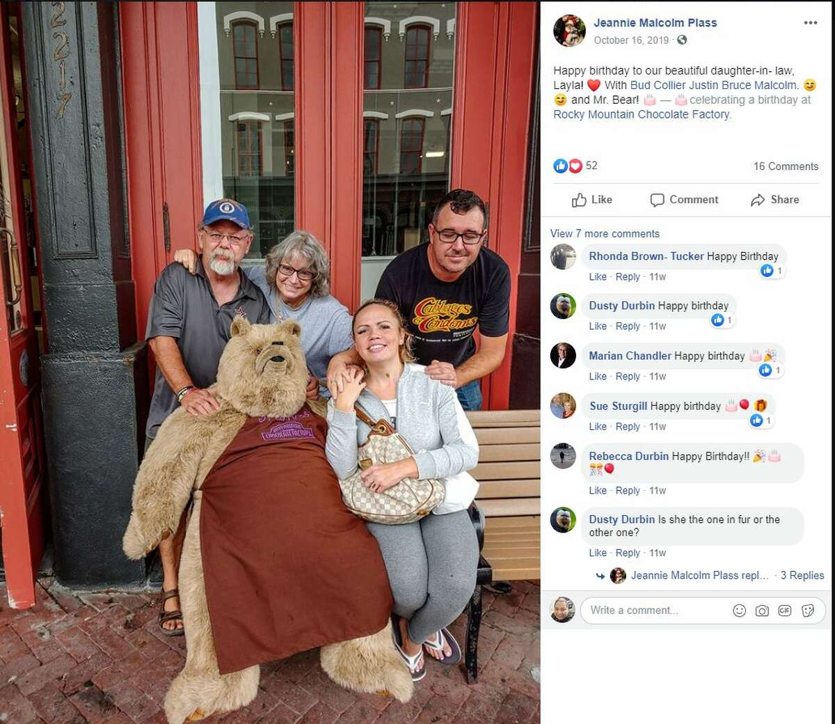 Since 1993, Truffles the oversized stuffed bear has sat outside of the Rocky Mountain Chocolate Factory on The Strand, Galveston's historic business district.