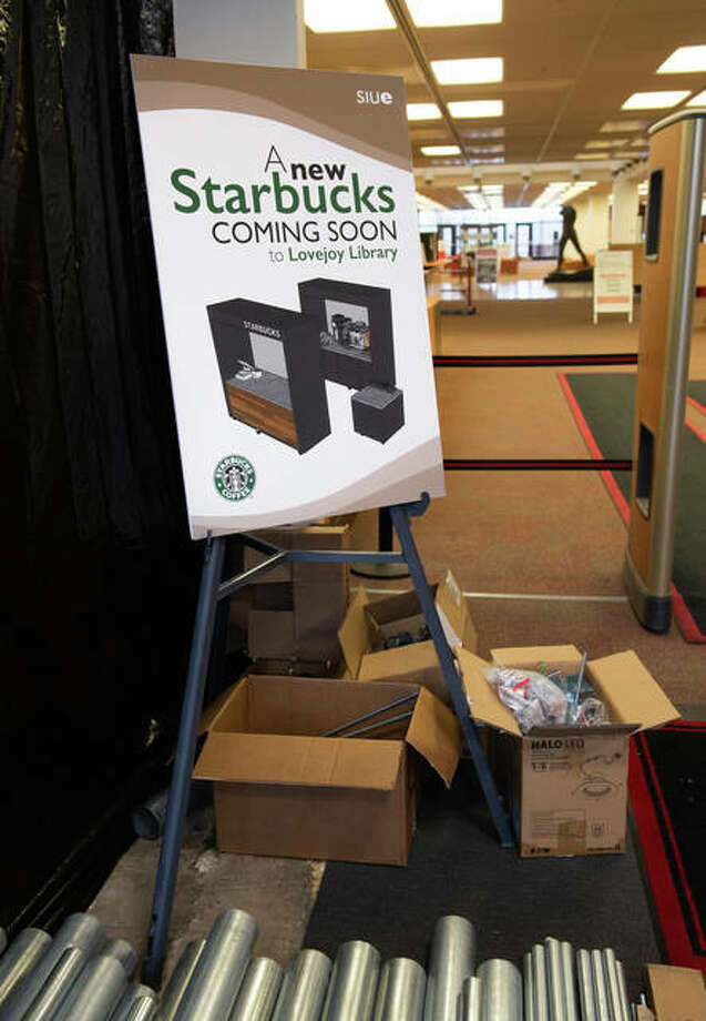 A sign in Lovejoy Library at Southern Illinois University Edwardsville indicates where renovation has begun for the school's second Starbucks, anticipated to open during the 2020 spring semester.