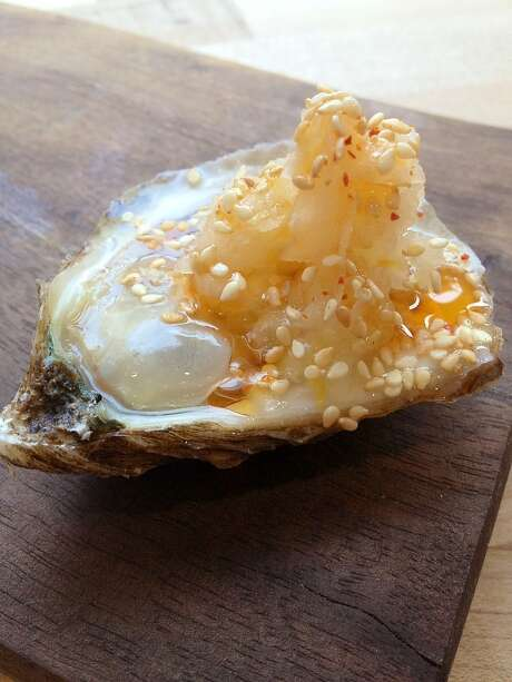 Oysters With Spicy Kohlrabi Kraut & Sesame, as served at State Bird Provisions, SF, Jan. 2013