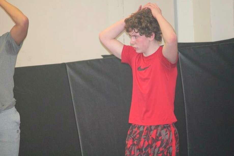 Reed Citys Alex Andrus works on conditioning during awrestling practice last week. (Pioneer photo/John Raffel)