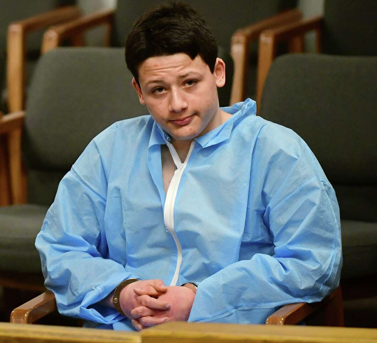 Ellis Tibere, 18, of Guilford, appears on Jan. 7 for an arraignment in state Superior Court in Norwalk to answer charges of criminal attempt at murder, first-degree assault and possession of a deadly weapon in Norwalk. The charges stem from for an incident that occurred in Westport on Monday.