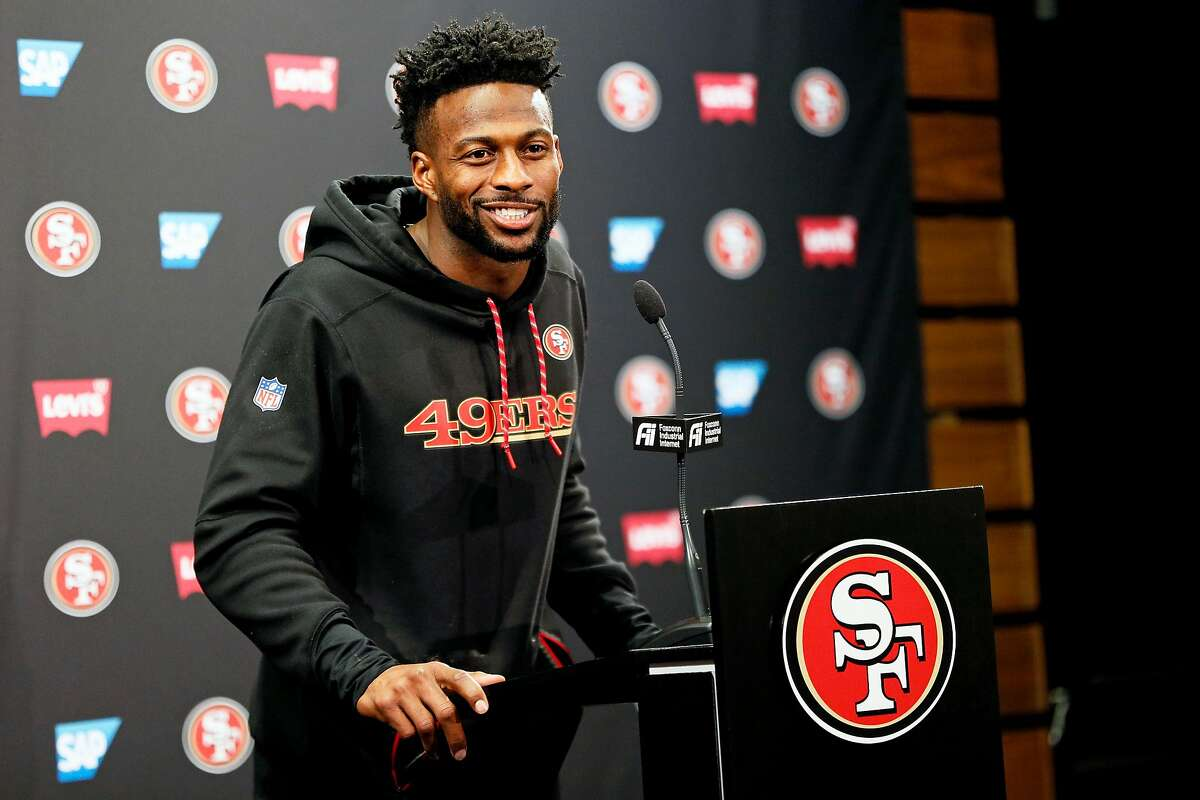 San Francisco 49ers wide receiver Emmanuel Sanders in a news conference at Levi's Stadium on Tuesday, Jan. 7, 2020, in Santa Clara, Calif.