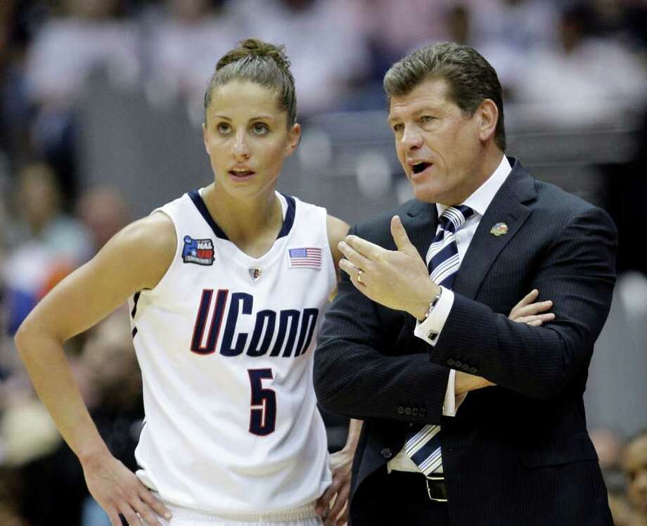 Connecticut coach Geno Auriemma talks to Caroline Doty (5) in the first half of the women's NCAA Final Four college basketball championship game against Stanford Tuesday, April 6, 2010, in San Antonio. (AP Photo/Eric Gay) Photo: Eric Gay, ST / AP2010