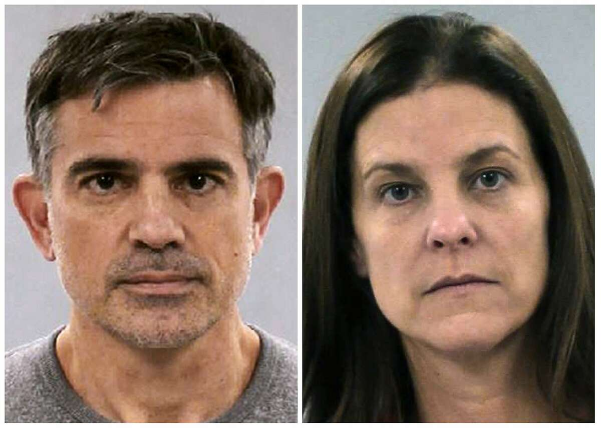 This combination of booking photos released Tuesday, Jan. 7, 2020, by the Connecticut State Police shows Fotis Dulos, left, and his girlfriend Michelle Troconis. Dulos was arrested Tuesday and charged with murder of his estranged wife Jennifer Dulos, who went missing in May 2019. Troconis, also arrested Tuesday, was charged with conspiracy to commit murder. (Connecticut State Police via AP)