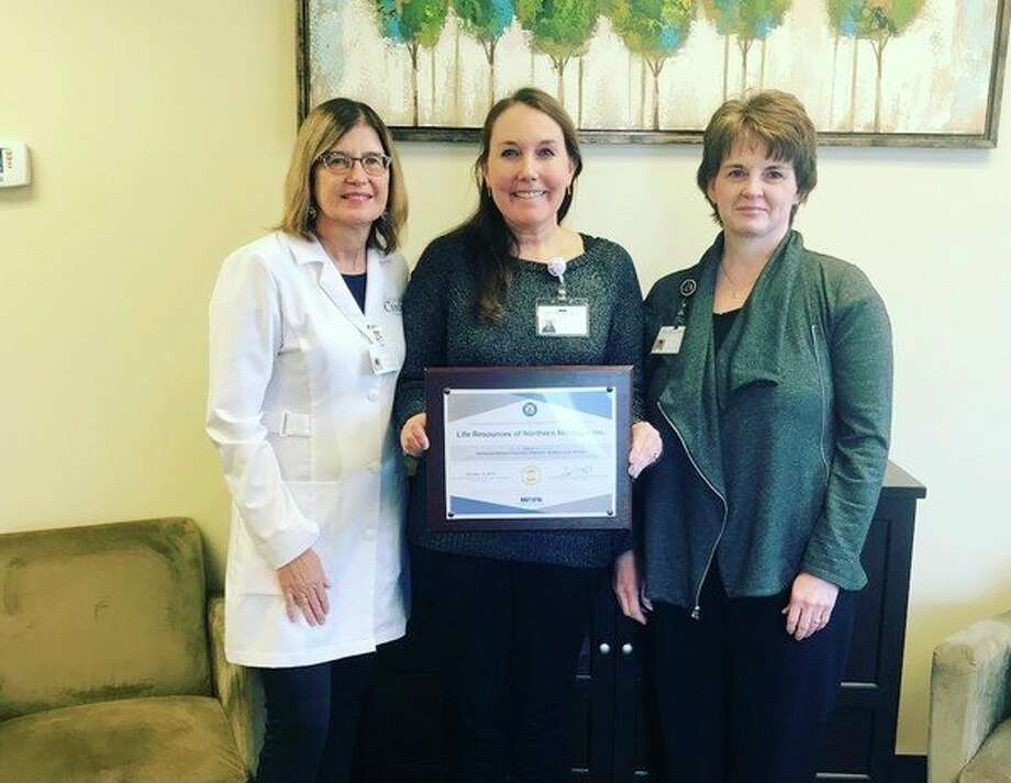 Life Resources of Northern Michigan recently was awarded by the MIBFN for implementing policies to create a breastfeeding-friendly workplace. Pictured from left to right, are Registered Nurse Denise Stamm, Center Director Amy Grandy and Receptionist Julie Cole, who accepted the award.(Courtesy photo)