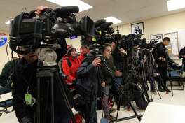 Media set up for a press conference after the arrest of Fotis Dulos at State Police Troop G Headquarters in Bridgeport, Conn., on Tuesday Jan. 7, 2020.