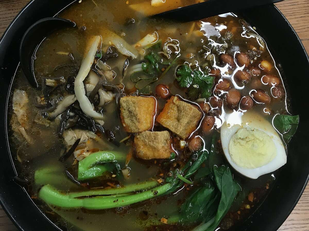 The star of R'Noodles is snail soup, loaded with toppings, as seen at 930 Webster St., Oakland. The restaurant closed during the pandemic.