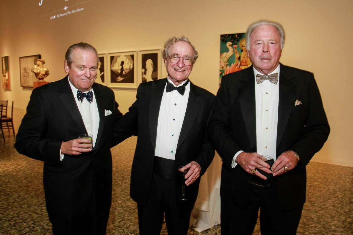 Patrick Oxford, left, Harry Reasoner and Steve Adger at One Great Night in November, MFAH's annual men-only event at the Museum of Fine Art Houston in 2017.