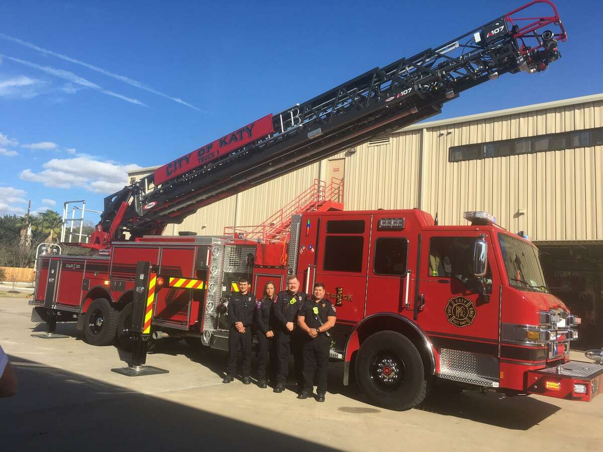 The Katy Fire Department recently added a new aerial truck/pumper to its firefighting fleet. Based at Station 1, the truck's crew includes, from left,Jared Mikolajczak, firefighter/EMT;Tana Vallone, firefighter/EMT;Edward Thraen, engine operator; andLt. David Gabriel, firefighter/EMT.