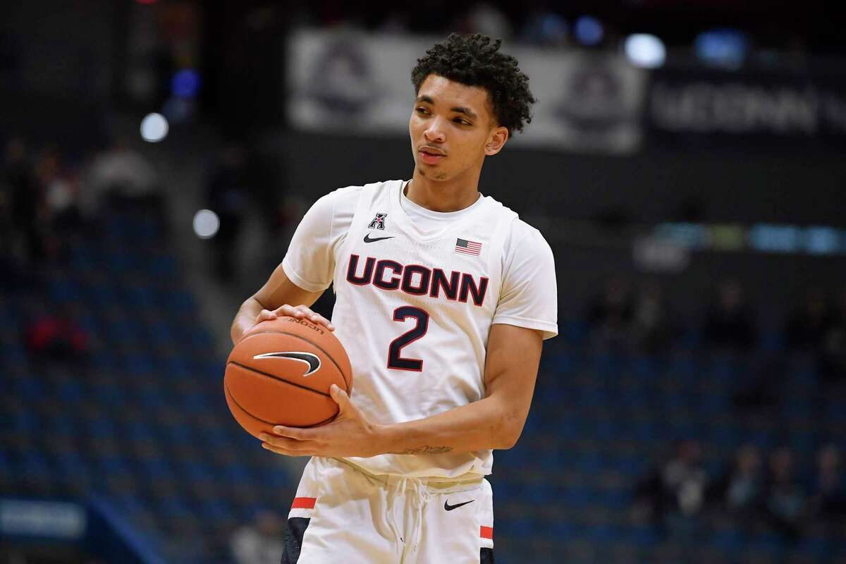 Connecticut's James Bouknight in the first half of an NCAA college basketball game, Wednesday, Dec. 18, 2019, in Hartford, Conn. (AP Photo/Jessica Hill)