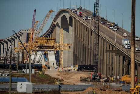 A three-week pause is planned in construction of the new Ship Channel Bridge along the Sam Houston Tollway in Houston, Tuesday, Jan. 7, 2020. Engineers must agree on a solution to a possible design flaw found nearly 20 months into construction.