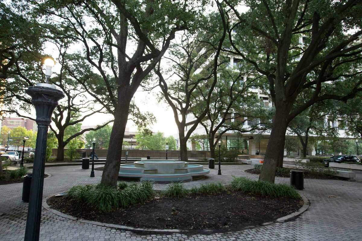Quebedeaux Park, located next to Harris County Family Law Center, in downtown Houston. A new historical marker plaque may be installed at the park for Harris County's four documented lynching victims. The park was chosen as a the location as a reminder that the victims did not have access to due process.