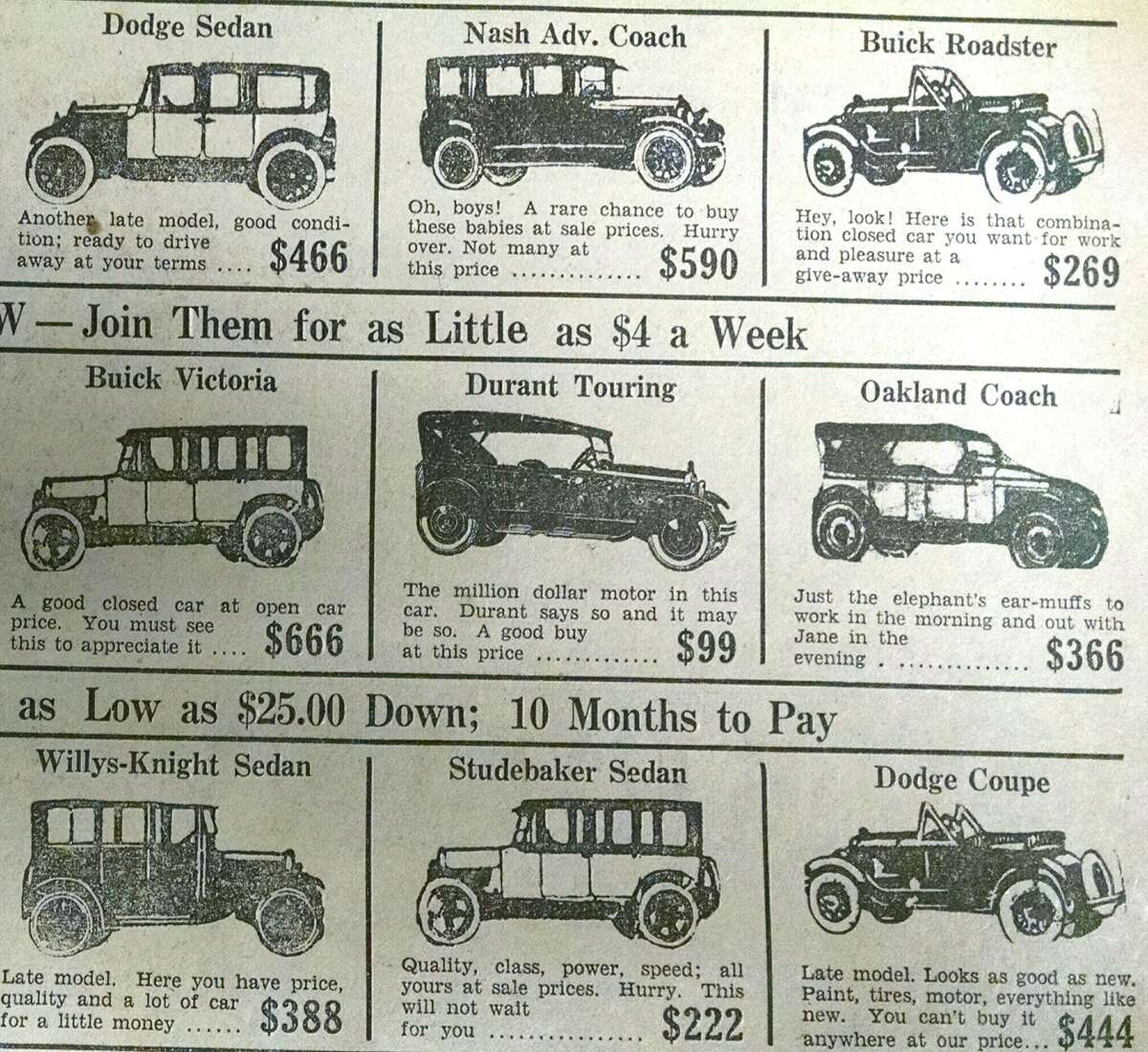 Here's what automobiles were selling for at the (appropriately named) William P. Carr, Inc. used car dealership, on 89 Central Ave., Albany in 1928. A $99 car would be $1,489 in today's dollars. A $388 car would be about $5,800 now. (Times Union archive)