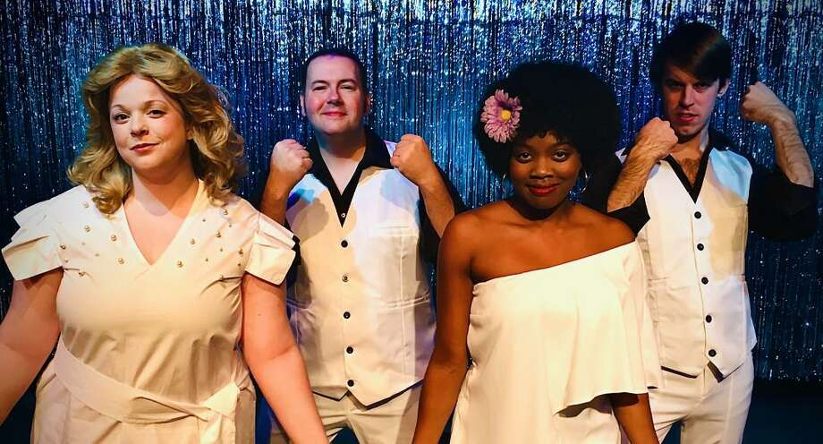 """Connecticut Cabaret Theatre will stage """" 8-Track The Sounds of the 70's: A Streakin' New Musical,"""" Jan. 10-Feb. 8. Pictured are cast members Emily Gray, Jayson Beaulieu, Erica Whitfield and Dan Frye. Photo: CT Cabaret Theatre / Contributed Photo /"""