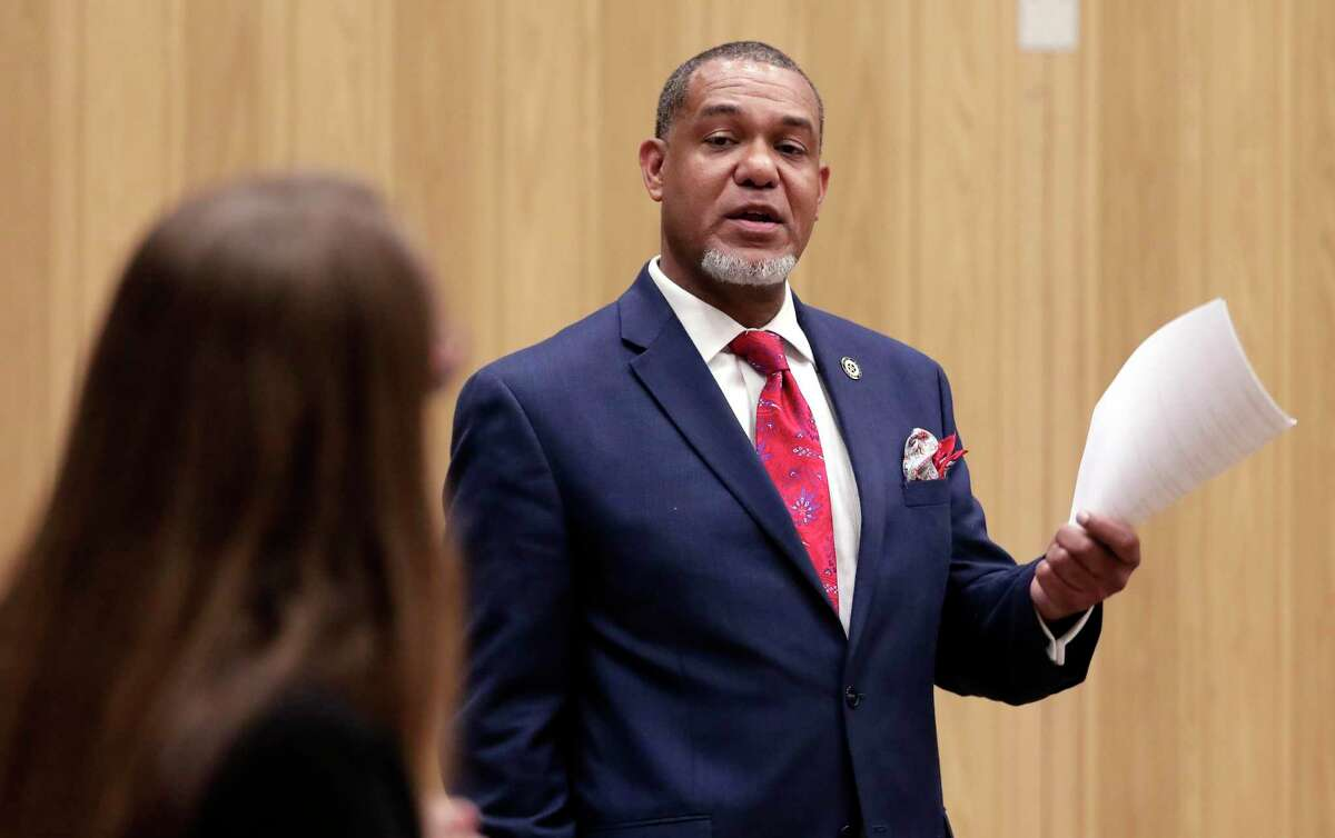 Texas Rep. Jarvis Johnson questions panel members during a public meeting and panel discussion with various city and state agency representatives at the Acres Homes Multi Service Center about a proposed concrete batch plant in the Acres Homes residential area Monday, Jul. 22, 2019 in Houston, TX.