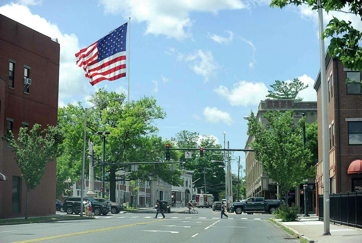 The intersection of Main Street Danbury with Liberty Street, Monday, June 25, 2018. Danbury received $2 million in grants from the state to support its plan to revitalize the the area of downtown.