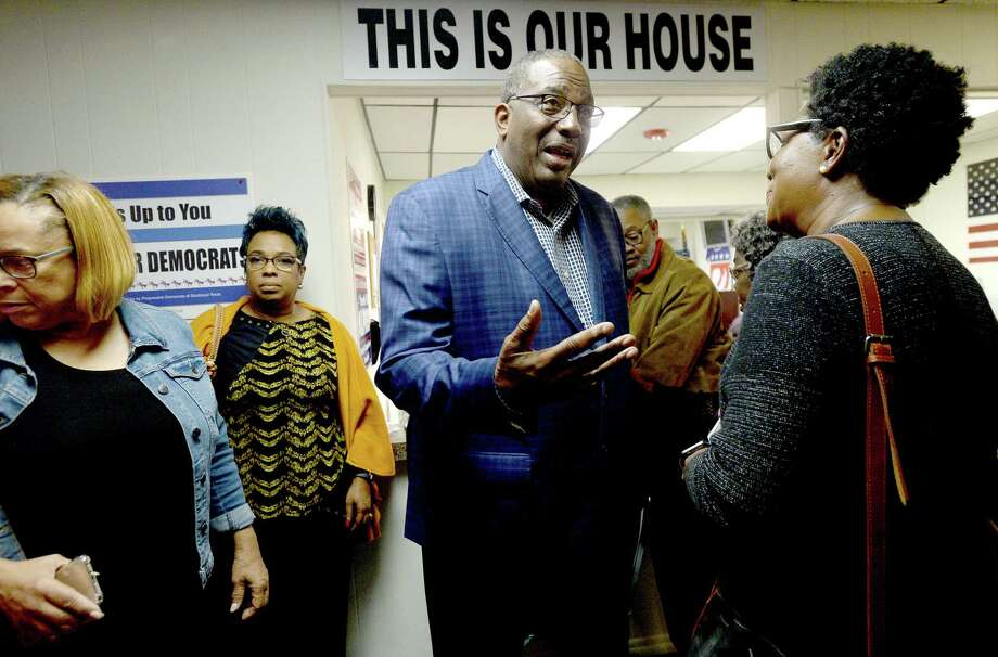 State Sen. Royce West , Democrat - Dallas, greets and talks with local Democrats, including Alice Lindsey-Washington, after speaking at the Jefferson County Democratic Headquarters in Beaumont Tuesday. West will be vying for the nomination to challenge U.S. Sen. John Cornyn in the 2020 election.