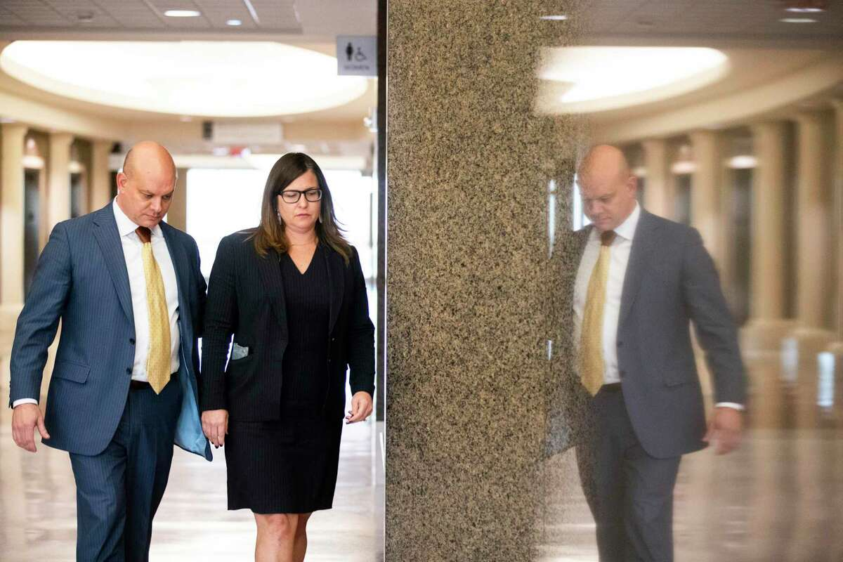 Cris Feldman and Lillie Schechter enter the Harris County 295th District Court on Tuesday, Jan. 7, 2020, in Houston. George has filed a lawsuit against the Harris County Democratic Party. George Powell has filed a lawsuit against the Harris County Democratic Party and Schechter is a named defendant.