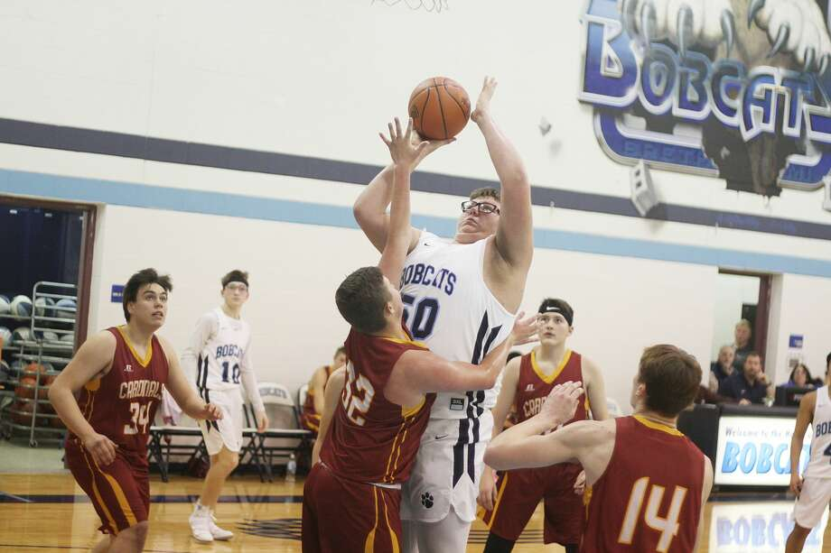 Brethren's Anthony Beccaria goes up strong in the paint on Tuesday during the Bobcats' victory over Mason County Eastern. Photo: Kyle Kotecki/News Advocate