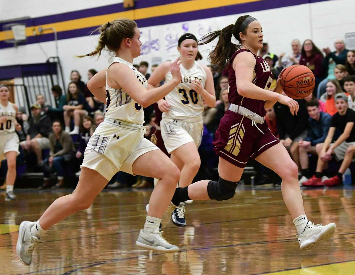 Fonda's Abigail Lombardoni heads to the basket in a fast break during a game against Duanesburg on Tuesday, Jan. 7, 2020 in Delanson, N.Y. (Lori Van Buren/Times Union)