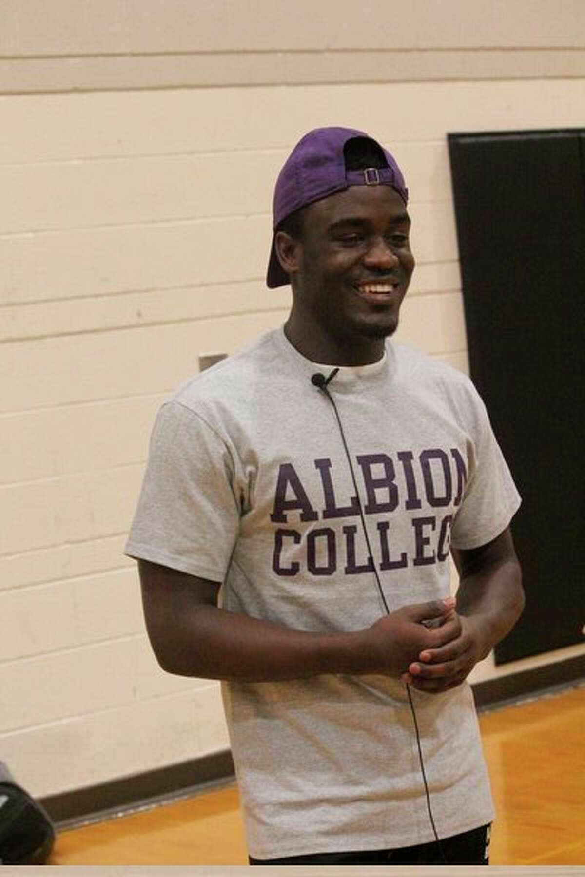 Reed City's Phillip Jones-Price was all smiles last February when he announced his decision to play at Albion. (Herald Review file photo)